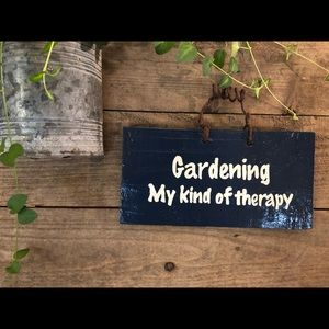 """Home Decor Wall Hanging Sign """"Gardening Therapy"""""""